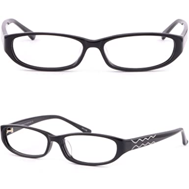 b692596e9a Image Unavailable. Image not available for. Color  Small Full Rim Oval Womens  Plastic Frame Prescription Glasses Acetate Black