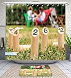 Amavam Bathroom 2-Piece Suit Finnish Original Outdoor Fun Game With Wooden Pins Shower Curtains And Bath Mats Set, 71'' Wx71 H & 31'' Wx20 H