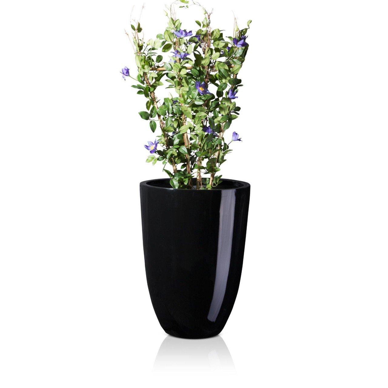 Pflanzkübel Blumenkübel LENO 75 Fiberglas, 55x55x75 cm, schwarz ...