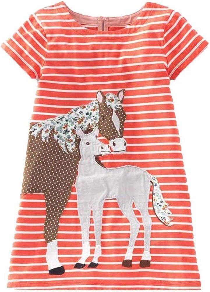 Nvfshreu Madchen - Vestido de manga corta de algodón para niños, con estampado de lunares, estilo sencillo, para verano, hasta la rodilla, desenfadado