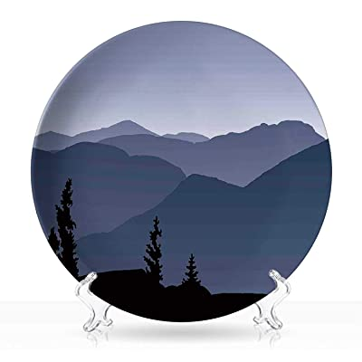 "Adirondack,Plate Adirondack Wilderness Landscape with Misty Mountain Hills Art DColorfulrative 6""Inch: Kitchen & Dining"