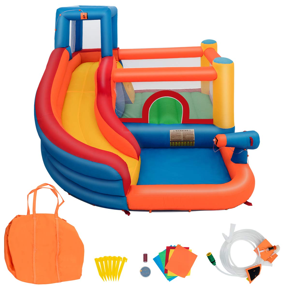 Costzon Inflatable Bounce House, 5-in-1 Water Slide w/ Climbing Wall, Jumping Area, Splash Pool, Water Cannon, Including Oxford Carry Bag, Repairing Kit, Stakes, Hose, Without Blower by Costzon (Image #6)