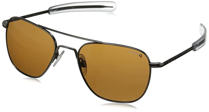 8f2d807b34392 Randolph Engineering Aviator Gunmetal Sunglasses - Tan Polarized Glass  Bayonet 55MM  Amazon.co.uk  Clothing