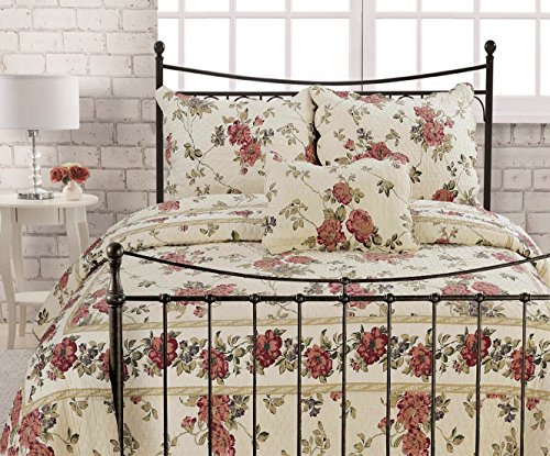 Cozy Line Home Fashions Beauty and Beast Rose Love Quilt Bedding Set, Red Olive Ivory Floral Flower 100% Cotton, Reversible Coverlet Bedspread Set, Romantic Gifts for Women(Rose Love, King - 3 Piece)