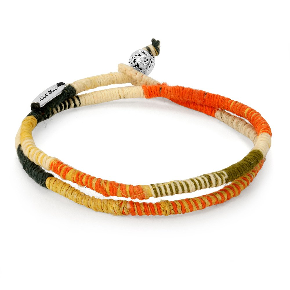 Mens Bracelet: Colorful Yellow/Orange with Organic Hemp Cord. Handmade 2 Wrap with Silver Bead by Ebb & Flow Jewelry