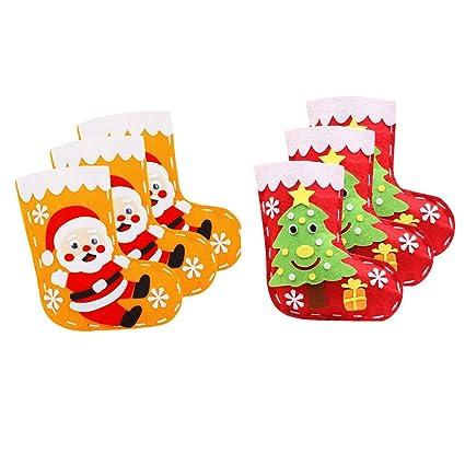 Baoblaze 6 Juegos Apliques de Fieltro Decorativo Papá Noel Calcetines Árbol de Navidad para Niños