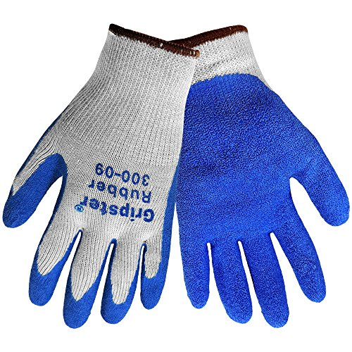 Global Glove Gripster 300 Blue Rubber Coated Gloves, Cotton/Polyester Blend Liner, Knit wrist, Textured Grip, 12 Pair, Size: Large