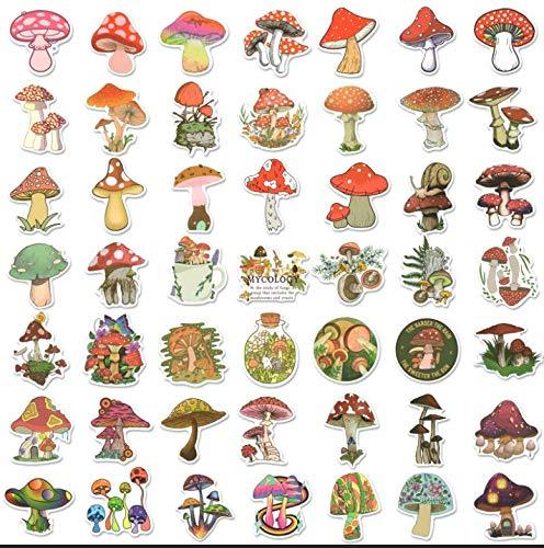 50pcs Mushroom Stickers for Water Bottles, Vinyl Waterproof Stickers Decals for Laptop Scrapbook, Vinyl Stickers for Adults, Kids, Tenns