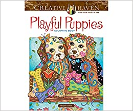 creative haven playful puppies coloring book adult coloring - Amazon Adult Coloring Books