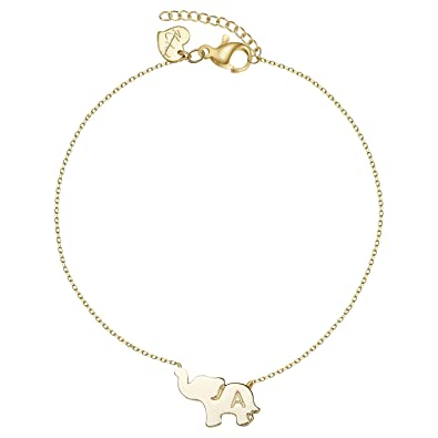 8e4f9ddcc4c Amazon.com  Gold Initial Elephant Anklets For Women 14K Gold Filled  Friendship Charm Best Friend Cute Tiny Animal Letter A Ankle Bracelet  Jewelry (AK-A)  ...