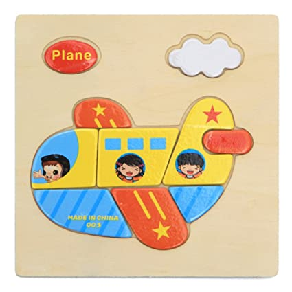 Alician Toy Children Cartoon Wooden Intelligence Jigsaw Puzzle Toy Animal Transportation Cognize Hands Grip Toy Aircraft