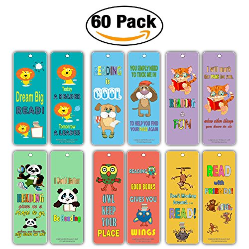 Cute Animal Bookmarks Cards for Kids (60 Pack) - Lion Dog Cat Panda Owl Monkey - Book Reading Inspirational Quotes Gifts - Stocking Stuffers for Young Readers Children Boys (Monkey Bookmarks)