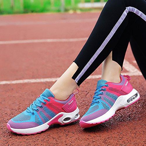 No.66 City Womens Air Cushion Comode Sneakers Leggere Scarpe Da Corsa Flyknit Us5,5-8,5 Blu