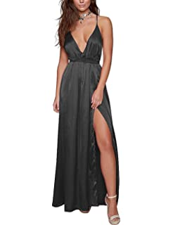 60a78335cb Yimeili Women's Sexy Deep V Neck Backless Split Maxi Cocktail Long Party  Dresses(30Color S
