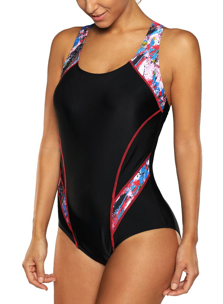 CharmLeaks Women Swimmers Bathing Suit 1 Piece Chlorine Resistant Swimsuit S Red