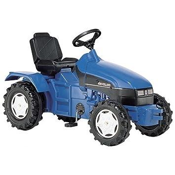 Tracteur à pédales bleu New Holland TS110 pour enfant de 3 à 7 ans