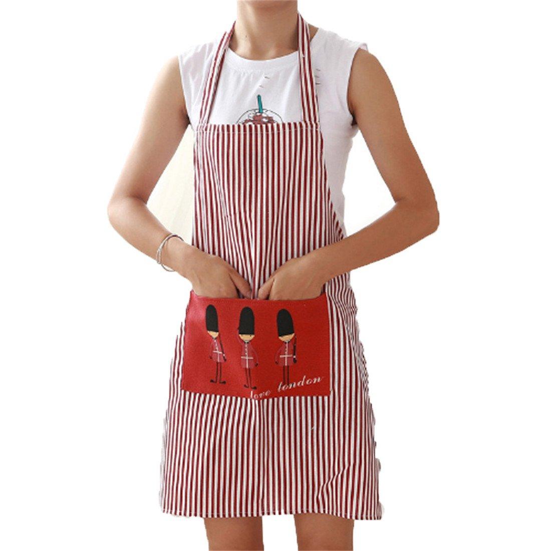 Edtoyコットンキャンバス女性用エプロン便利なポケット耐久性ストライプキッチン調理エプロンの女性をプロの料理、グリル、ベーキング、レッドストライプシェフエプロンSoldiersパターン   B078GWH9MM