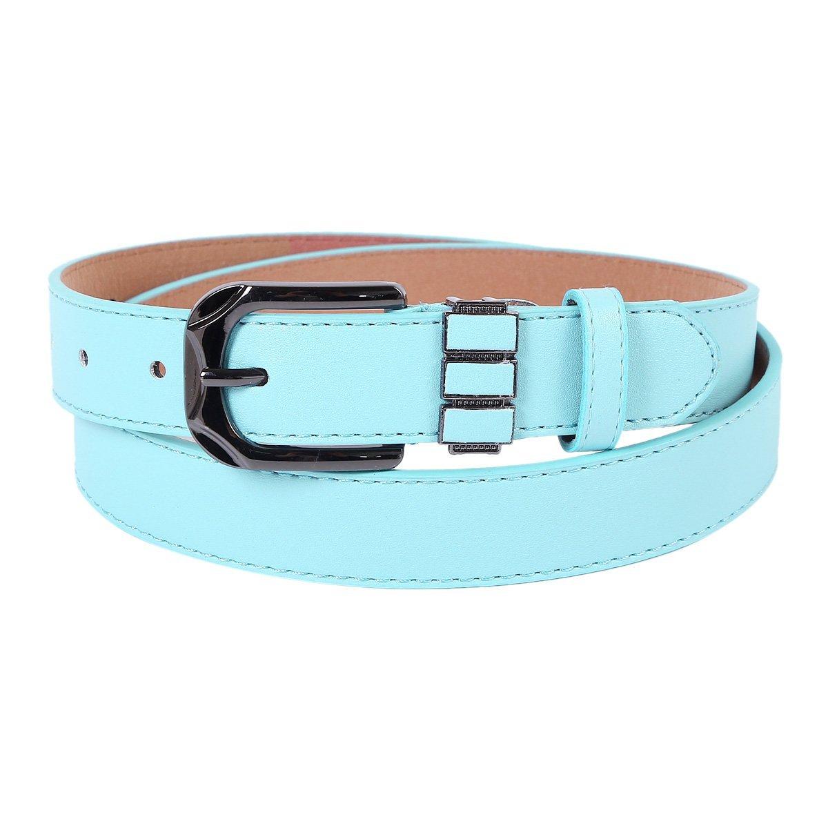 Damara Womens Classical Square Single Pin Buckle Solid Color Belt, Purple
