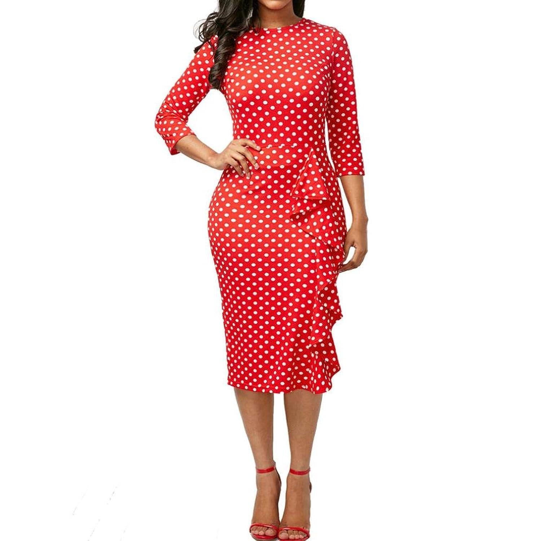 254ada0be8a7 hot sale 2017 Minisoya Women's Elegant Polka Dot Dress Ruffle Bodycon Work  Business Party Evening Cocktail