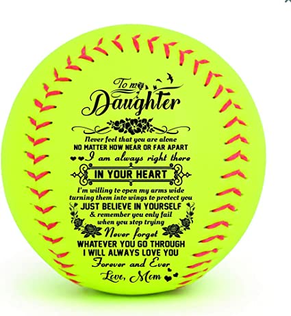 Amazon Com To My Daugther Never Feel That You Are Alone No Matter How Near Or Far Apart I Am Always Right There In Your Heart Love Mom Softball Gift Sports Outdoors