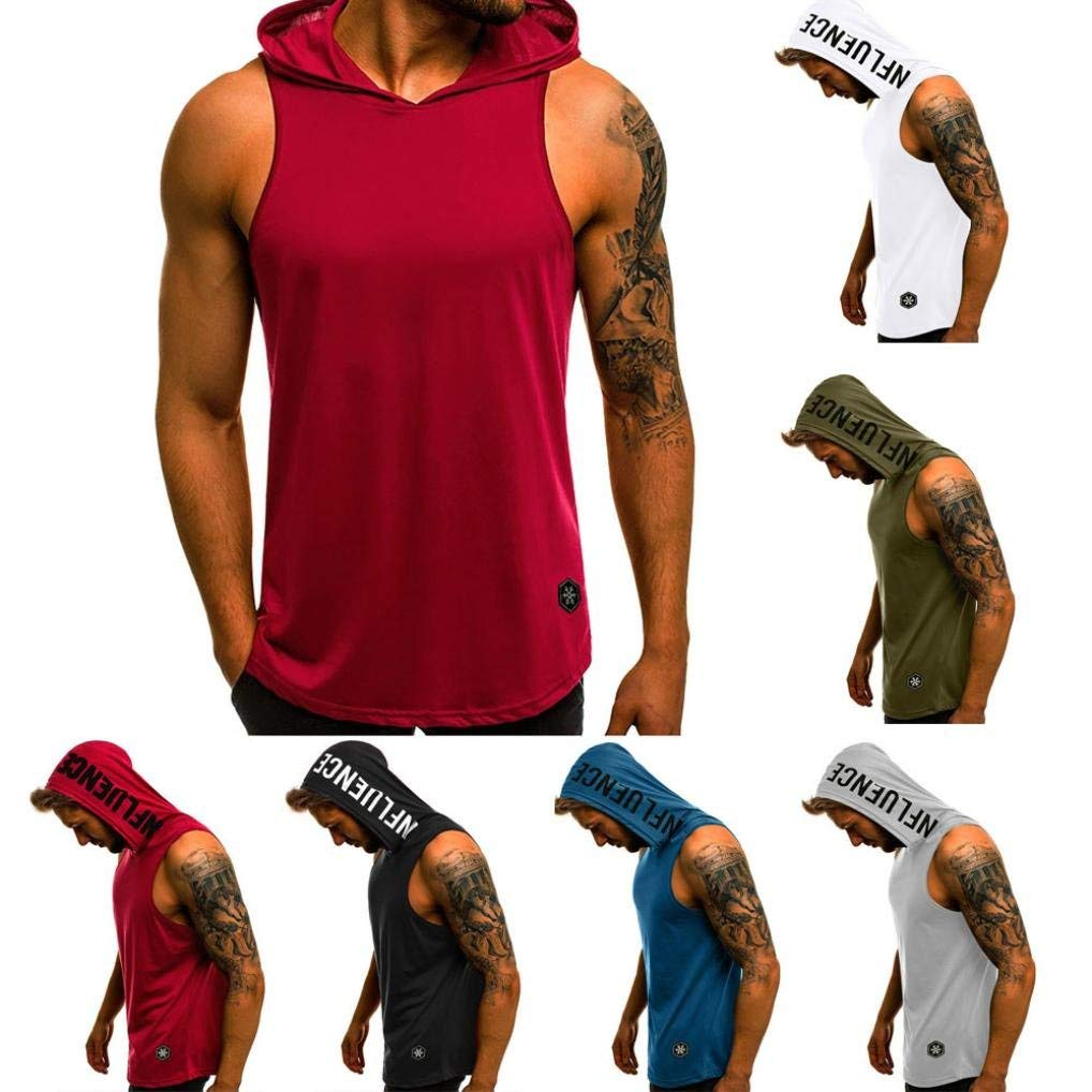 Men Gym Sleeveless Pullover Vest T-Shirt Hoodie Hooded Tank Tops Muscle Clothes