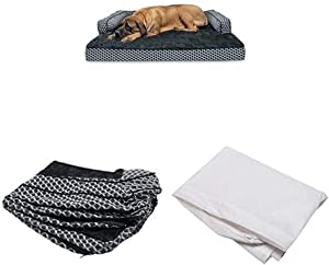 Furhaven Pet Bundle - Jumbo Plus Diamond Gray Orthopedic Plush Faux Fur & Décor Comfy Couch Sofa, Extra Dog Bed Cover, Water-Resistant Mattress Liner for Dogs & Cats