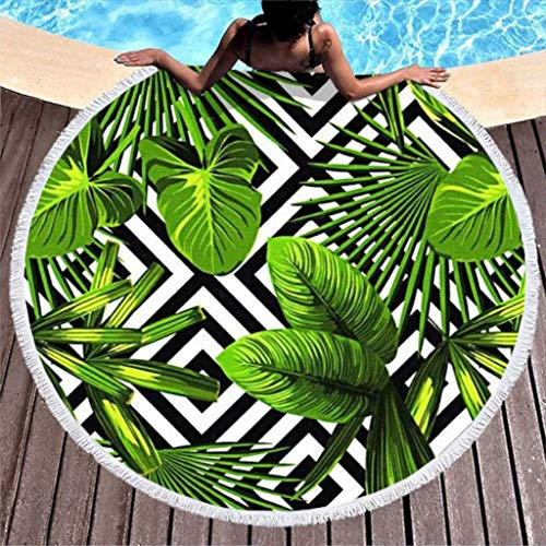 - YUGRTSY Mandala Round Beach Towel with Tassel Thick Soft Tropical Palm Banana Leaves Stripe Beach Blanket Tapestry with Fringe Terry Beach Towel for Adults