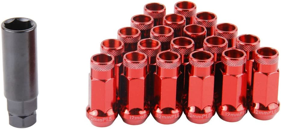 EDJIAN 20 PCS Aluminum Acorn Conical 12x1.25 Thread Size Wheel Lug Nuts Open End With Key red