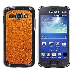 QCASE / Samsung Galaxy Ace 3 GT-S7270 GT-S7275 GT-S7272 / imitación de piel sintética de color marrón arte tela de la piel / Delgado Negro Plástico caso cubierta Shell Armor Funda Case Cover