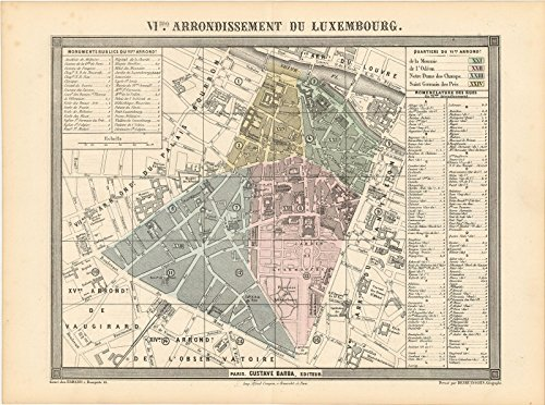 Historic Pictoric Map | Europe, Paris 1860 6th Arrondissement | Vintage Poster Art Reproduction | 24in x 16in - Map Europe 1860