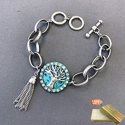 Silver Finish Patina Tree of Life Clear Rhinestones Chain Tassel Fashion Jewelry Bracelet For Women + Gold Cotton Filled Gift Box for Free ()