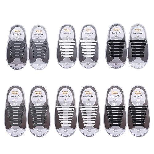 b812f545ccdf6 ETSAMOR Sin Corbata Cordones de Zapatos para Niños y Adultos 6 Pares Cordones  Elásticos de Silicona Negro Blanco Gris para Zapatos de Atletismo Atlética  y ...