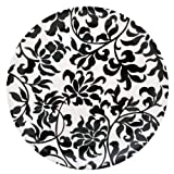 Two Lumps of Sugar Simply Elegant Black and White 10-Inch Bamboolamine Plate, Set of 4