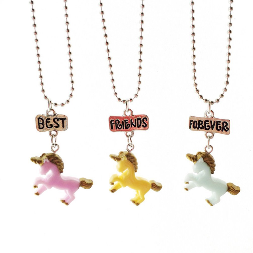 3pcs Necklace Set for Best Friends Unicorn Necklace Pendant for Girls Boys Best Friendship Necklace Last Forever Children Delicate Gifts