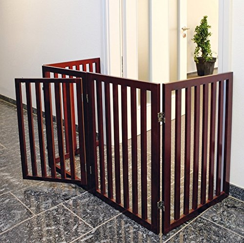 Price comparison product image 4-Panel Design Brown Free Standing Convertible Wooden Dog Gate & Play Pen
