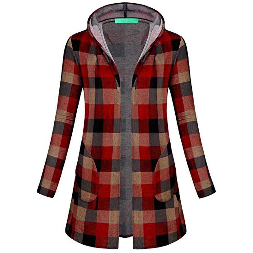 FarJing Womens Coat Long Sleeve Plaid Hooded Knitting Parka Outerwear Overcoat