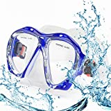 Top studio Diving Mask, HD Scuba Adult Dive Mask with Anti Fog Tempered Glass Snorkel Mask, Diving Glasses for Dry Snorkeling Diving Swimming Provides Crystal Clear Wide View(Blue)