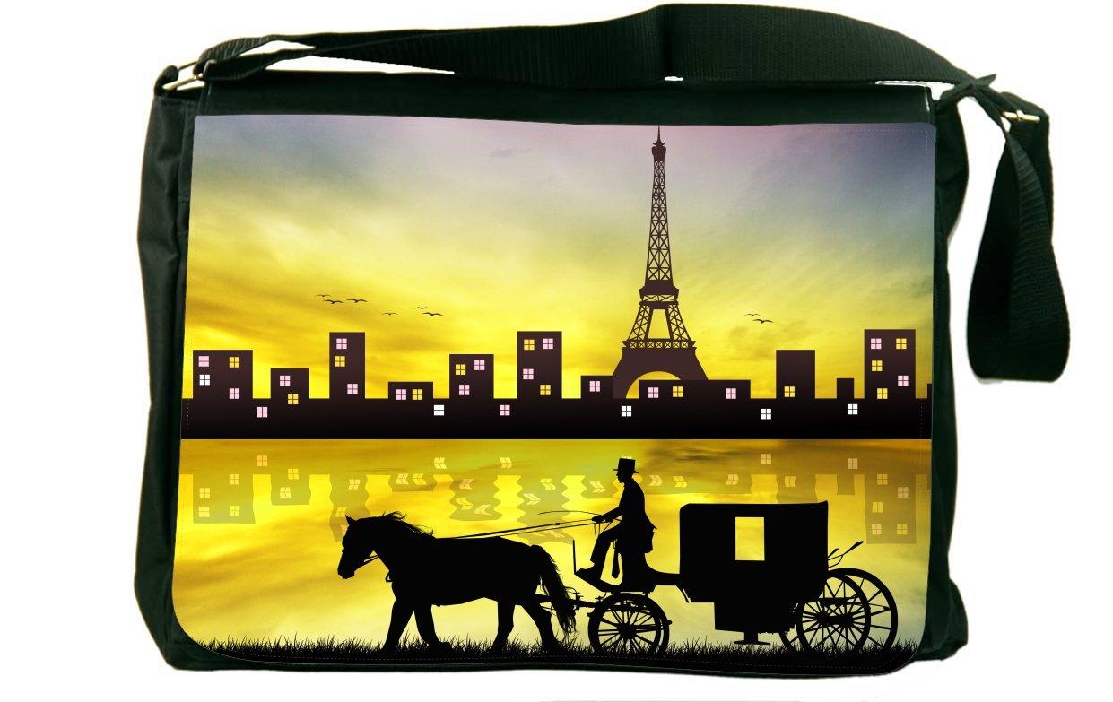 Rikki Knight Horse and Carriage in Paris メッセンジャーバッグ スクールバッグ B01IJPKKRA