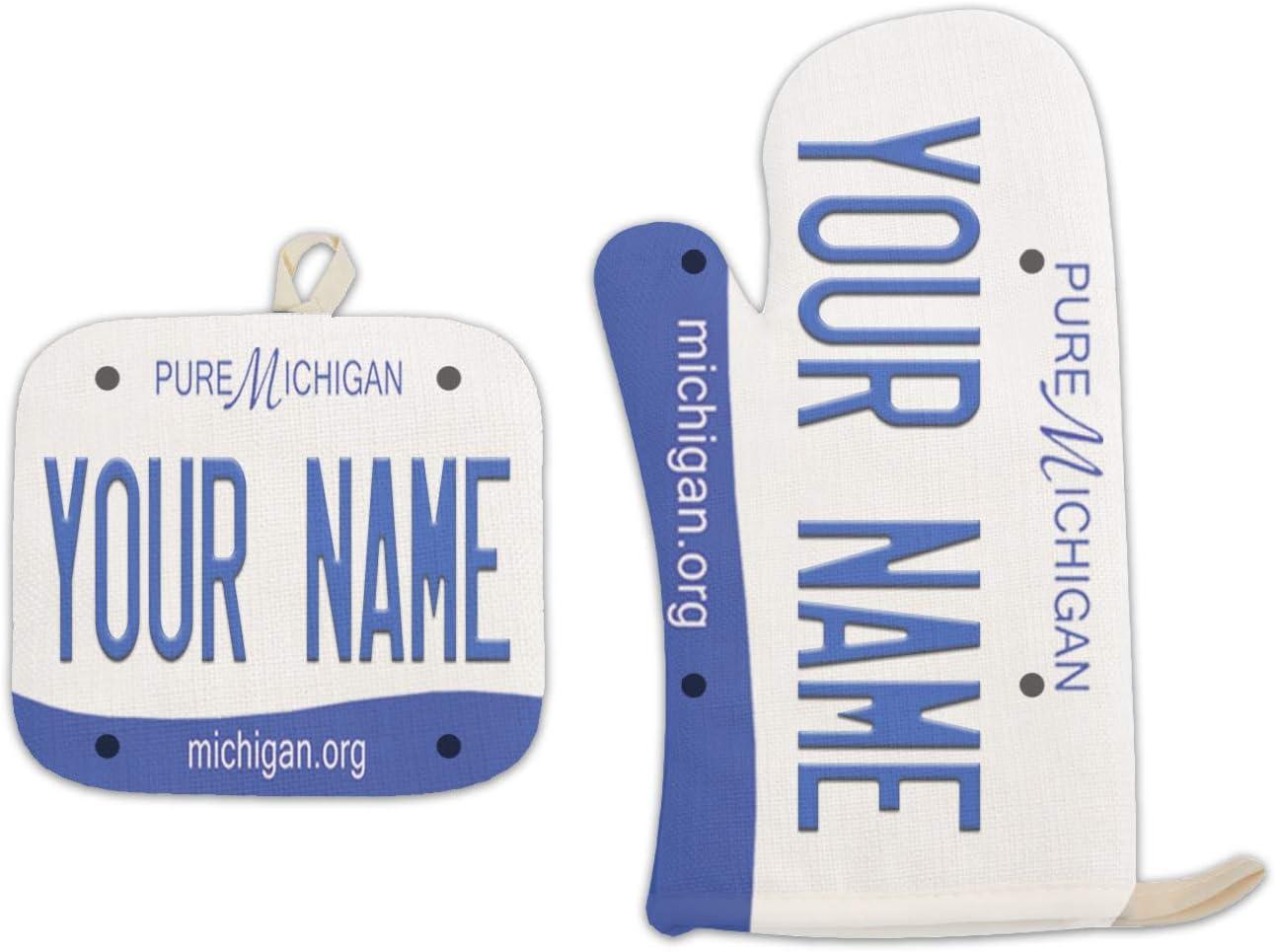 Bleu Reign BRGiftShop Personalized Custom Name 2016 Michigan State License Plate Linen Oven Mitt and Potholder Set