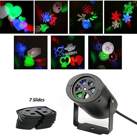 LED Lámpara de paisaje luces de luces de Navidad proyector, 7 Lens ...