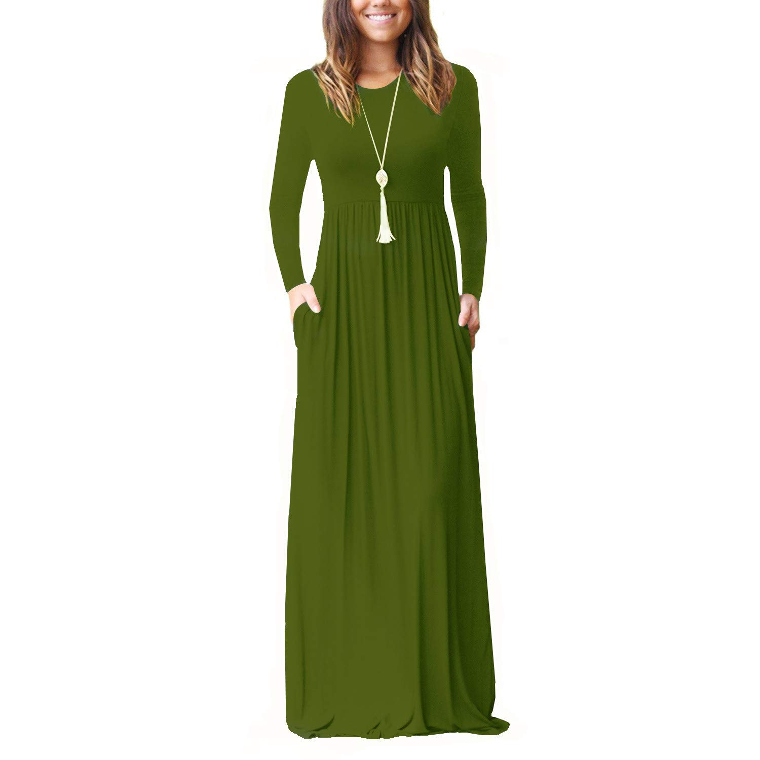 Army Green AWUWE Women Long Sleeve Loose Plain Maxi Dress Casual Long Dresses with Pockets