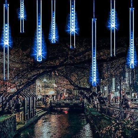 Luces de Navidad de Lluvia Mejoradas, Luces de Ducha de Meteoritos IP65 Impermeables con 11.8 Pulgadas 8 Tubos 240 LED, Luces Decorativas con Puertos USB para Exterior/Interior/Bodas/Navidad/Fiestas