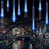 Upgraded Falling Rain Christmas Lights Meteor Shower Lights with 11.8inches 8 Tubes 240LEDs, Cascading Rain Lights with USB Ports for Wedding, Christmas, Tree, Party, Home Decor, e