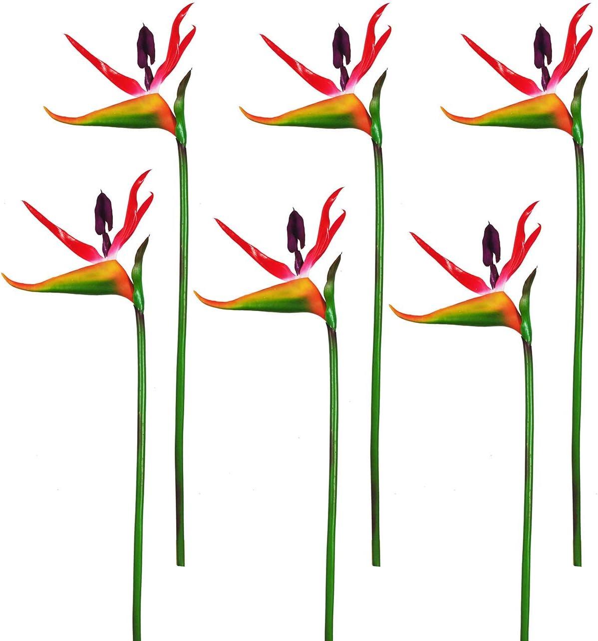 Artificial Flowers Bird of Paradise Greenery Plants Indoor Outside Garland Home Garden Office Verandah Wedding Decorations 6pcs (Red, 6 Pack)