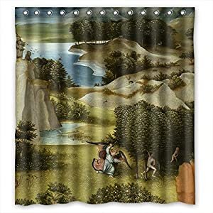 SkuGo Polyester Hieronymus Bosch Art Painting Bathroom Curtains Width X Height / 66 X 72 Inches / W H 168 By 180 Cm Best Choice For Kids Girl Artwork Bf Husband Teens. Machine Washable -