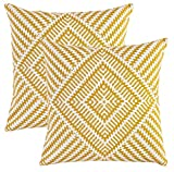 TreeWool, (Pack of 2) Kaleidoscope Accent Throw Pillow Covers in Cotton Canvas (20 x 20 Inches; Mustard)