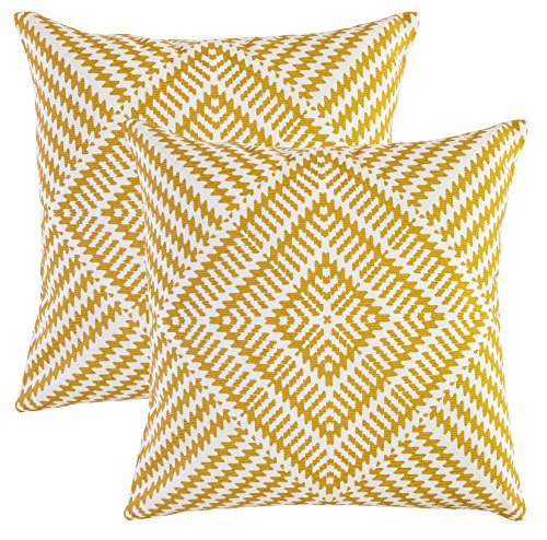 TreeWool Throw Pillowcase Kaleidoscope Accent Pure Cotton Decorative Cushion Cover (24 x 24 Inches / 60 x 60 cm; Mustard) - Pack of 2