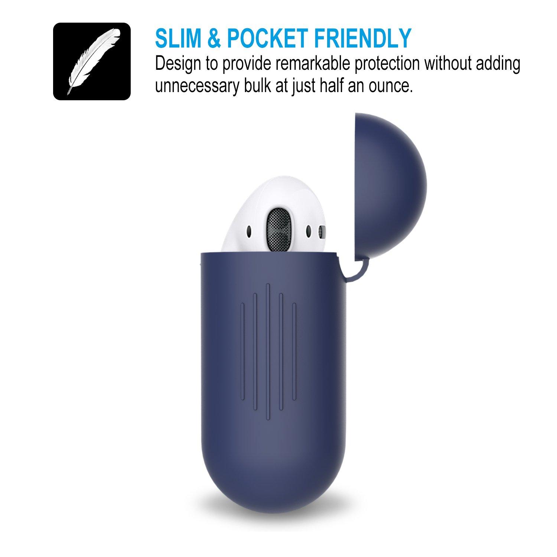 Gulaki Airpod Bo/îte /à suspendre antid/érapant avec housse et de peau Accessoires sans fil pour Apple Airpods casque /étui de chargement Noir 2in1 Airpods casque Coque en silicone avec sangle de sport