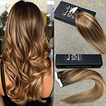 Sunny Seamless Skin Weft Hair Extensions 16inch Chocolate Brown(Colour 4) Fade to Caramel Blonde(colour 27) Mixed Brown(Colour 4) 100% Remy Brazilian Hair Ombre Tape in Straight Human Hair Extensions 50g/20pcs