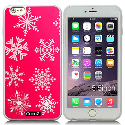 New Apple iPhone 6 s Plus 5.5-inch CocoZ® Case Beautiful Christmas Snow TUP Material Case (Hot Pink&Transparent TPU Snowflake - Center Kids Louisville